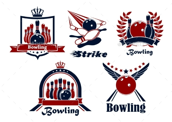 Bowling Emblems With Game Items - Sports/Activity Conceptual