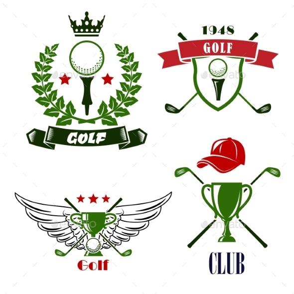 Golf Club Or Tournament Heraldic Emblems