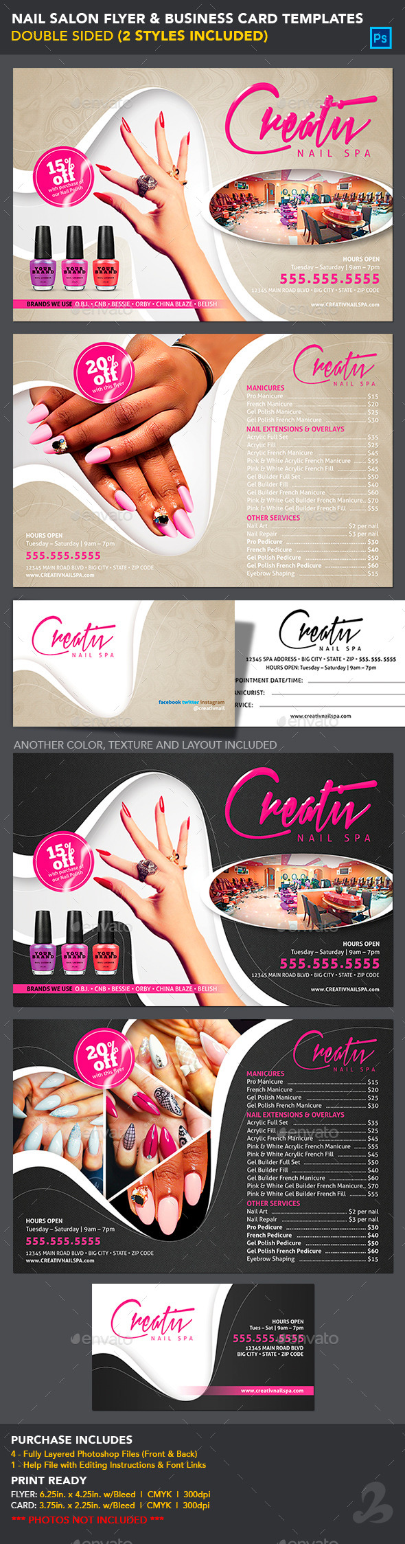 Nail Salon Flyer & Business Card Templates by CreativB | GraphicRiver
