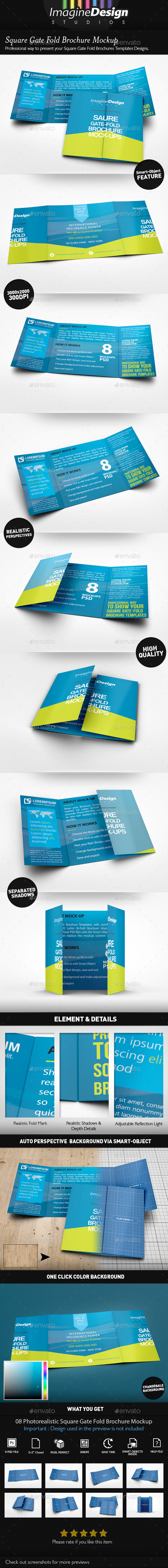 Square Gate Fold Brochure Mockup by BaGeRa – Gate Fold Brochure Mockup