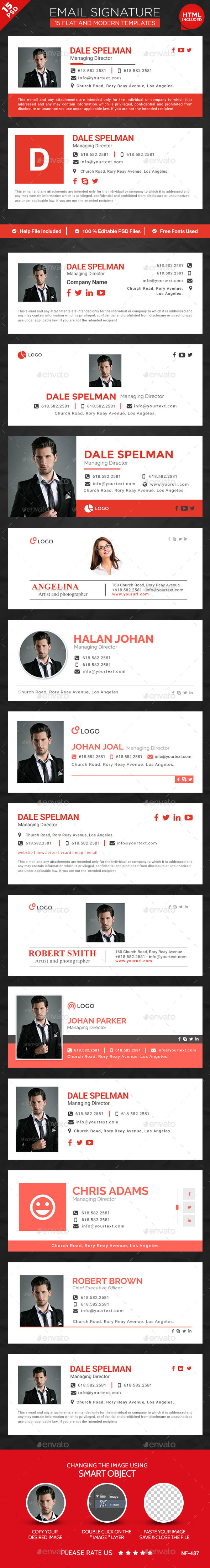 15 Email Signature Templates HTML Files Included