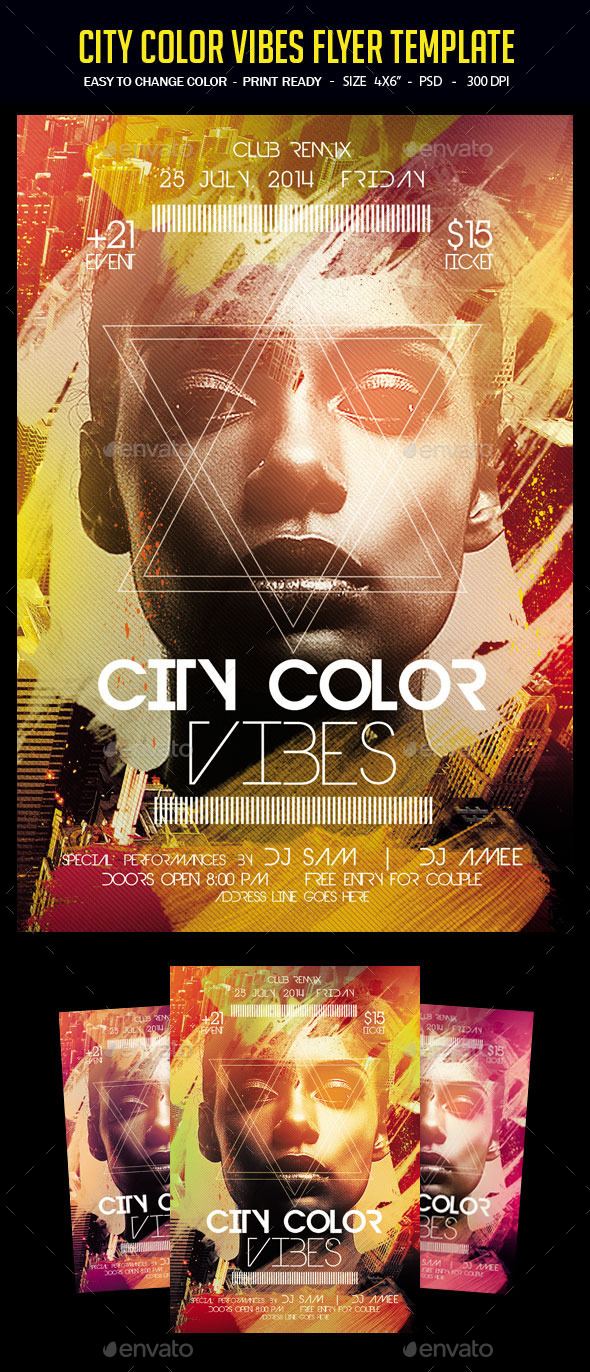 City Color Vibes Flyer Template - Clubs & Parties Events