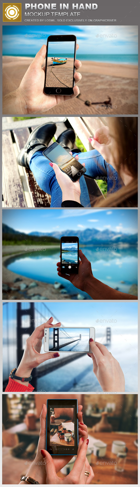 Phone in Hand Mockup Template - Mobile Displays
