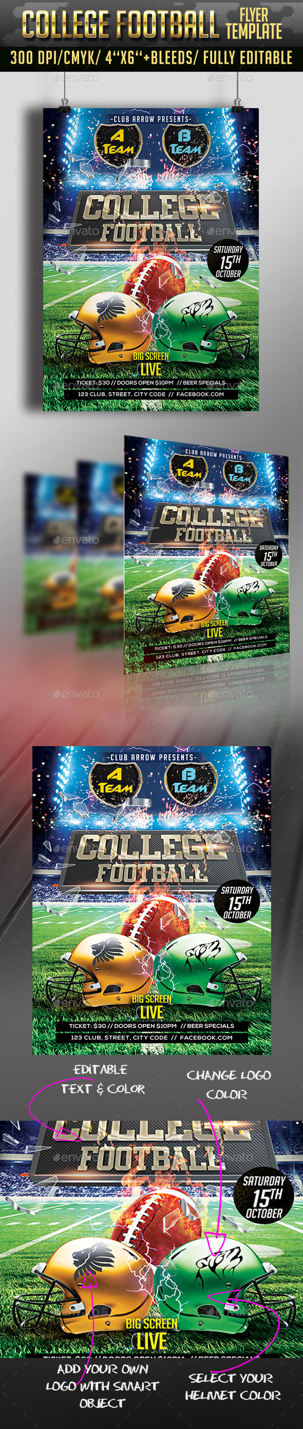 College Football Flyer - Clubs & Parties Events