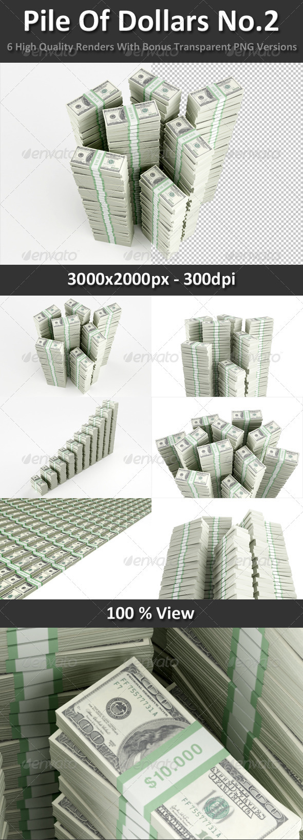 Pile Of Dollars No.2 - Objects 3D Renders