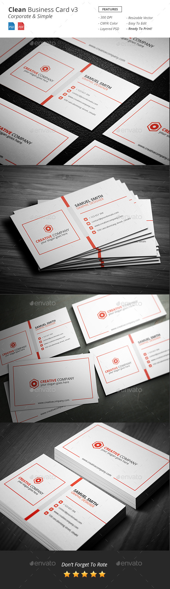 Clean - Corporate Bussiness Card v3 - Corporate Business Cards