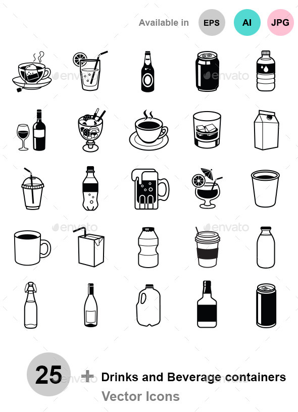 Drinks and Beverage containers - Food Objects