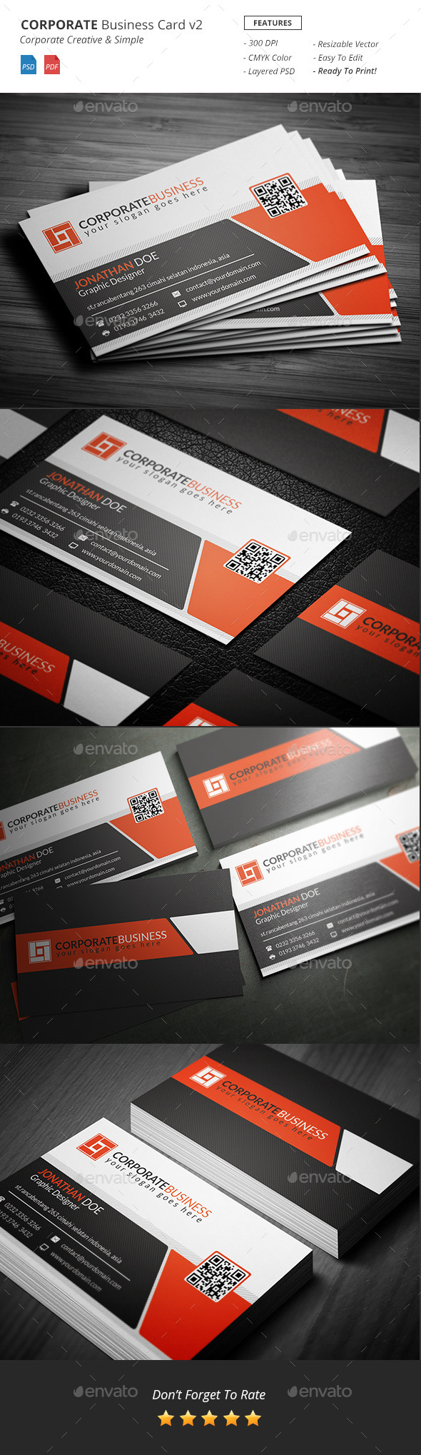 Corporate Business Card Template v2 - Corporate Business Cards