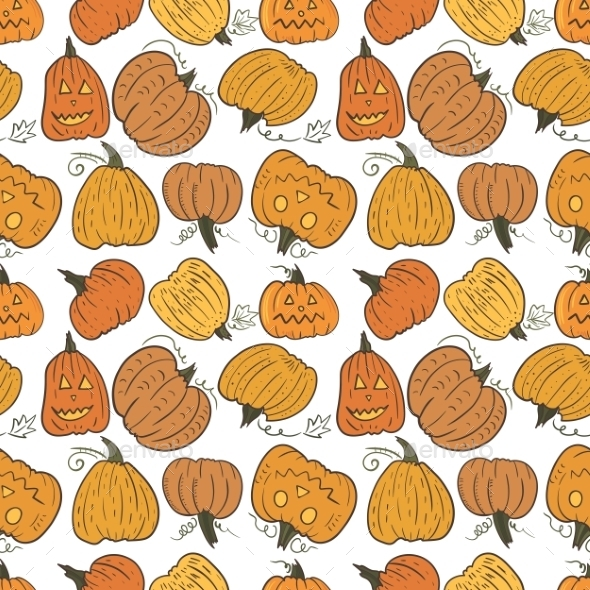 Funny Pumpkin Vector Pattern  - Halloween Seasons/Holidays
