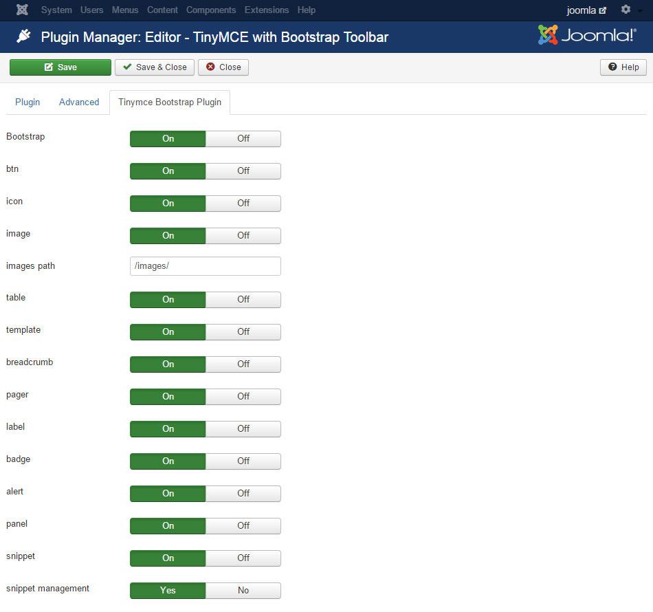 TinyMce Bootstrap plugin for Joomla