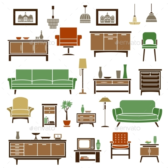 Home Furniture Elements In Flat Style - Objects Vectors