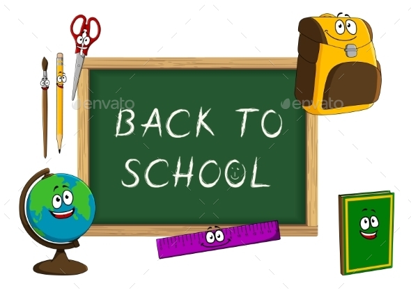Cartoon School Supplies With Blackboard - Objects Vectors