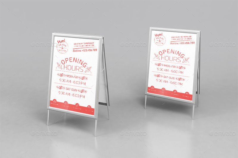 Bakery & Cupcake Shop-Open Hours\/ RollUp Template by wutip2 GraphicRiver