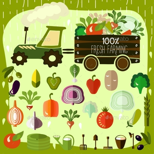 Organic Products. Vector.  - Food Objects