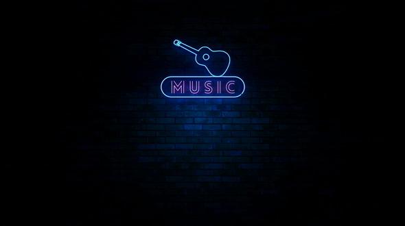 Music Neon Light Sign Flickering
