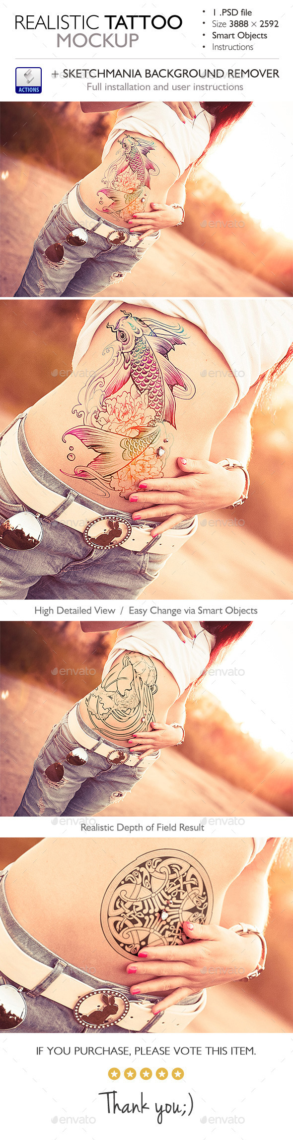 Realistic Tattoo Mockup - Miscellaneous Product Mock-Ups