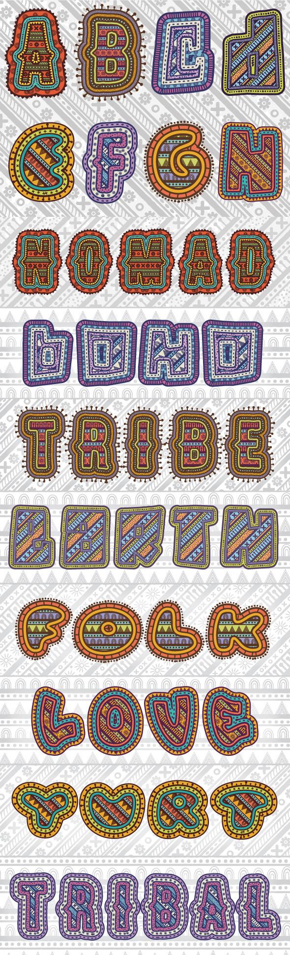 Tribal Text Styles - Styles Illustrator
