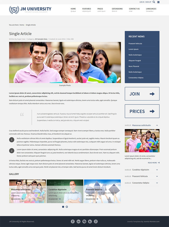 JM University - multipurpose education template by Joomla-Monster ...