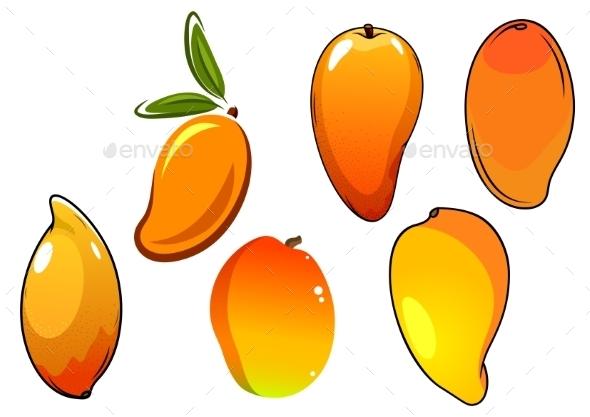 Orange Fresh Tropical Mango Fruits - Food Objects