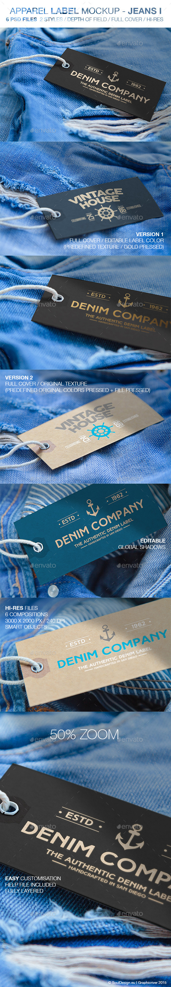 6 Apparel Label Mockups Jeans I
