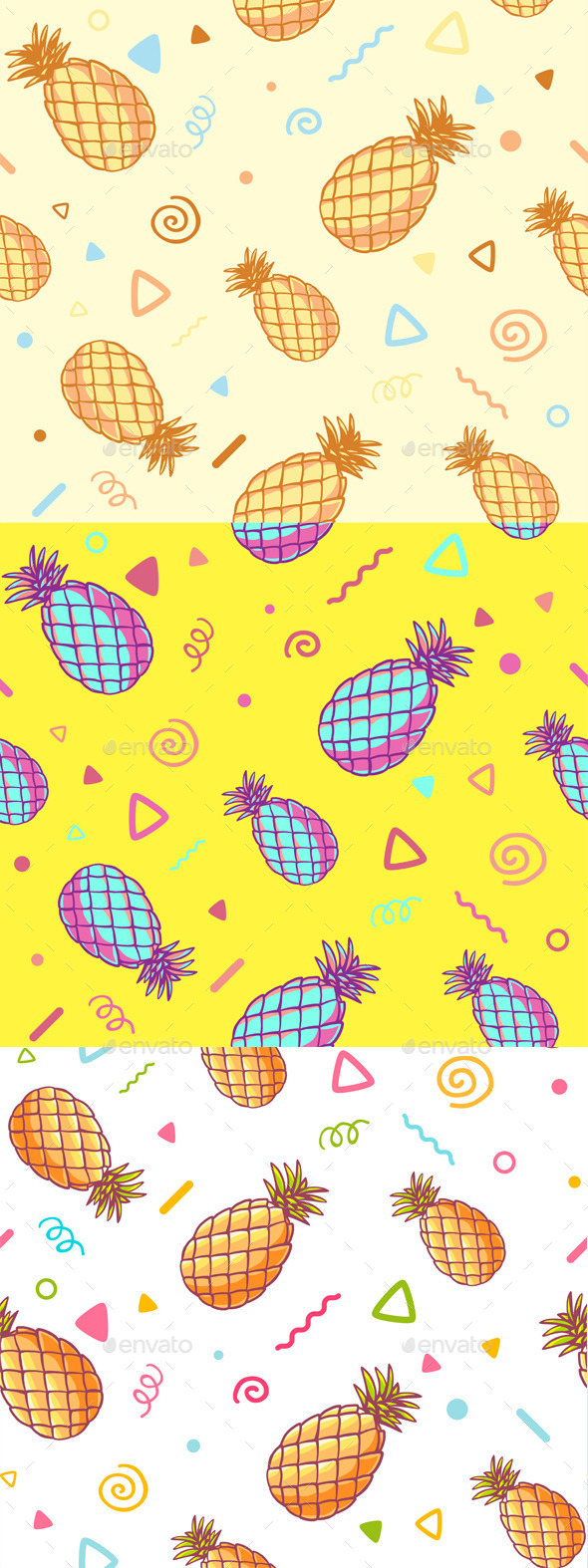 Three Fashionable Patterns with Pineapples - Patterns Decorative