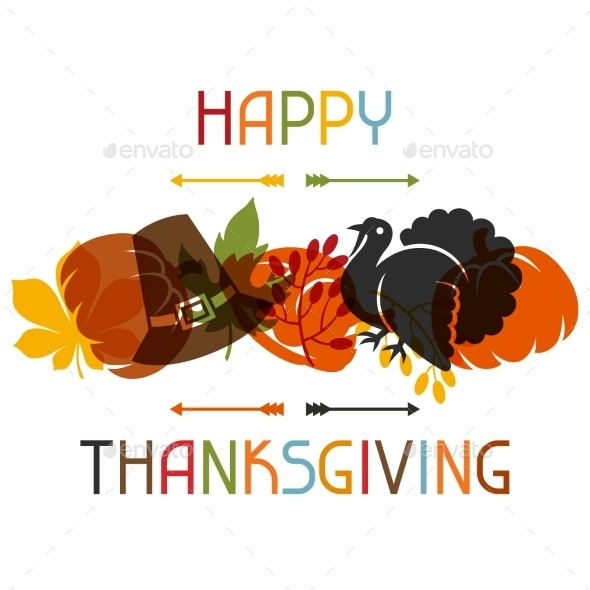 Happy Thanksgiving Day Card Design With Holiday - Seasons/Holidays Conceptual