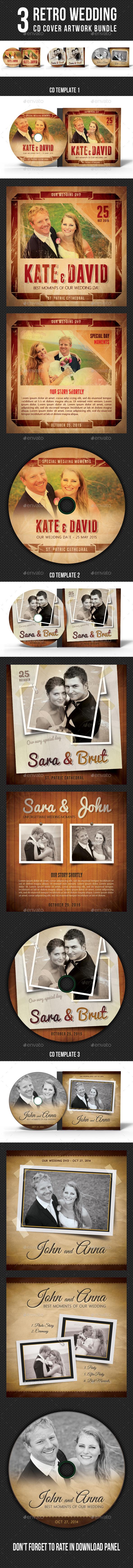 3 Retro Wedding Event CD Cover Bundle - CD & DVD Artwork Print Templates