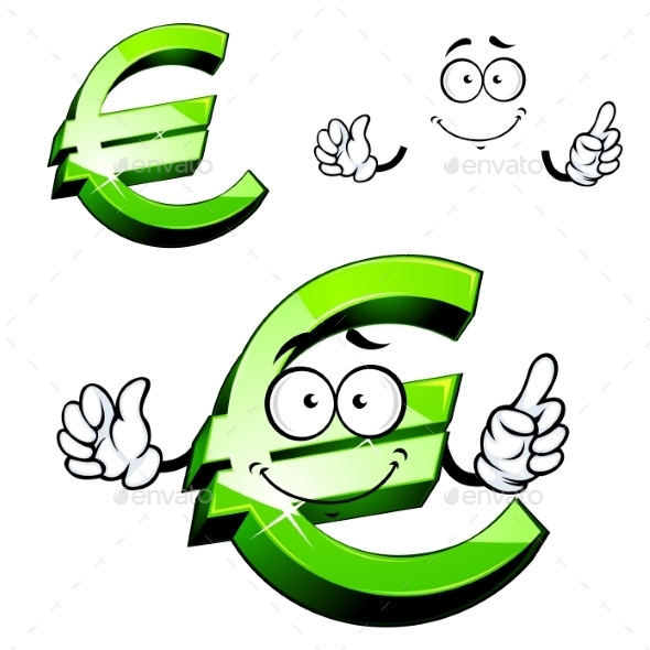 Cartoon Isolated Green Euro Sign - Characters Vectors