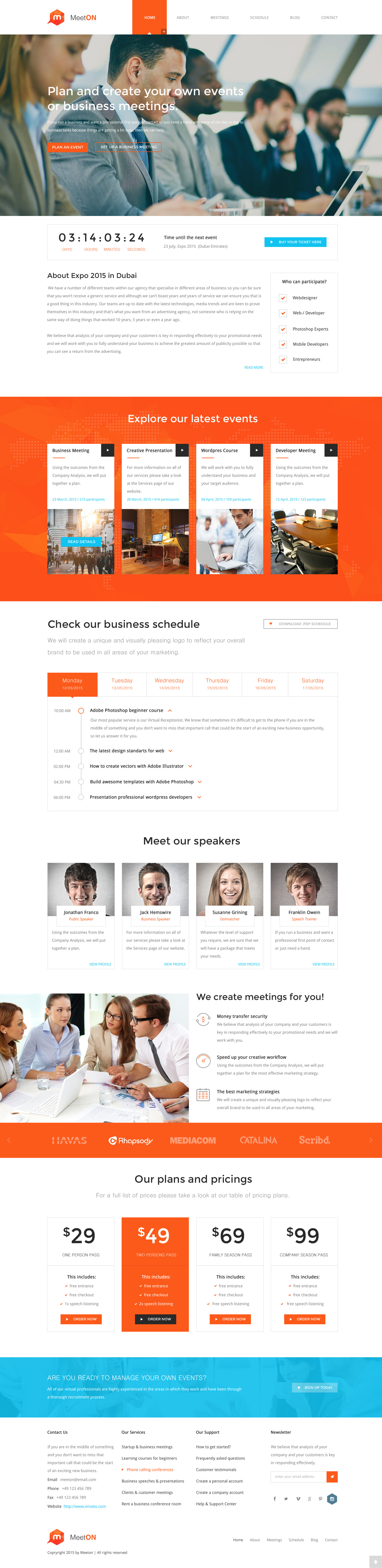Meeton conference event html template