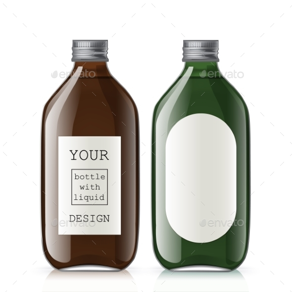 Set Of Different Empty Glass Bottles - Objects Vectors