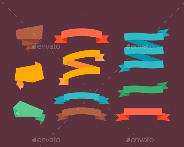 Retro Flat Ribbons - Miscellaneous Vectors