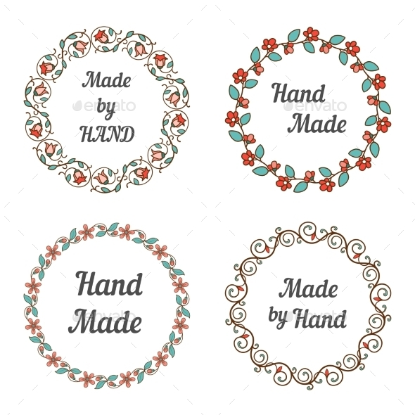 Handmade Labels With Wreaths - Miscellaneous Vectors