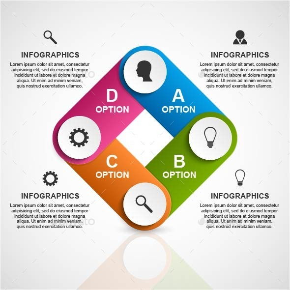 Abstract 3D Business Options Infographic Template - Infographics