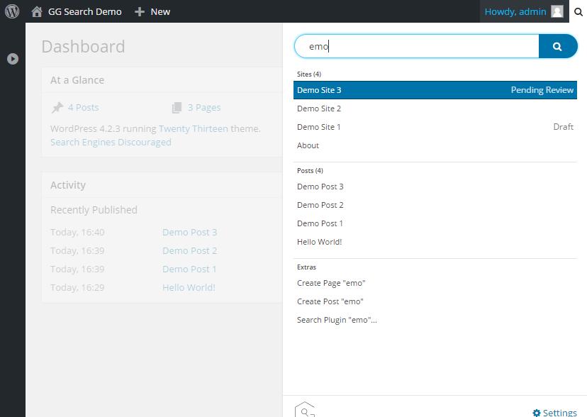 WordPress Real Dashboard Search - AJAX backend search