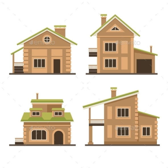 Flat Residential Houses Set - Buildings Objects