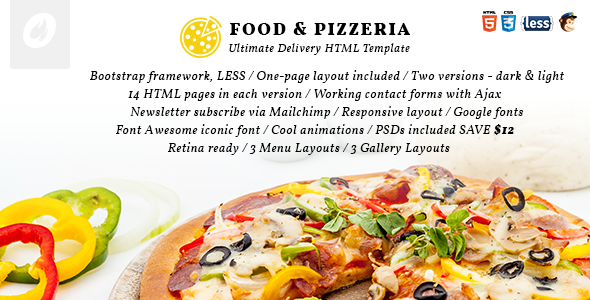 Food & Pizzeria Ultimate Delivery HTML5 Template