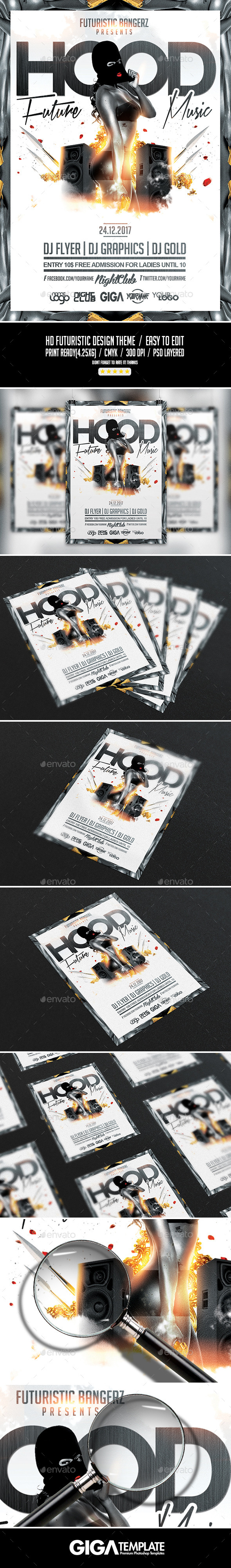 Hood Future Music | Hip-Hop Flyer PSD Template - Events Flyers