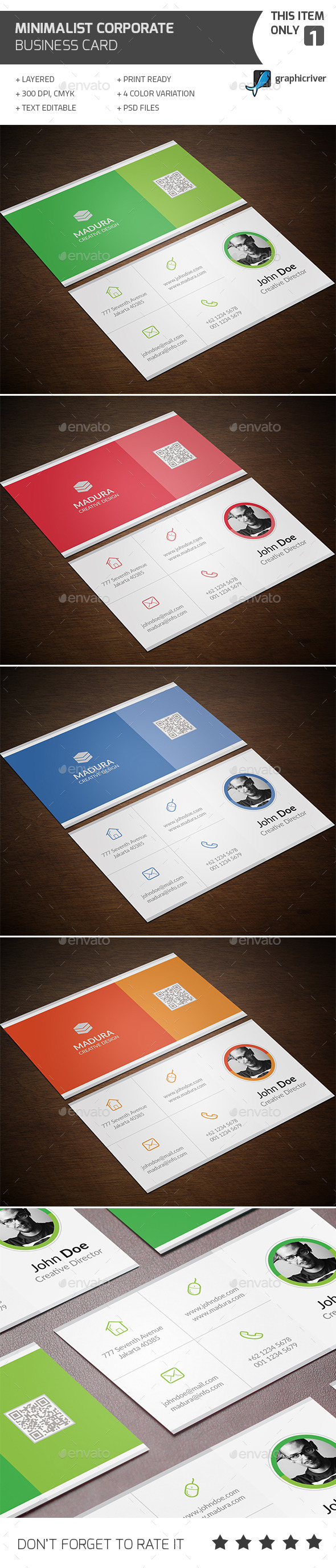Minimalist Corporate Business Card - Corporate Business Cards