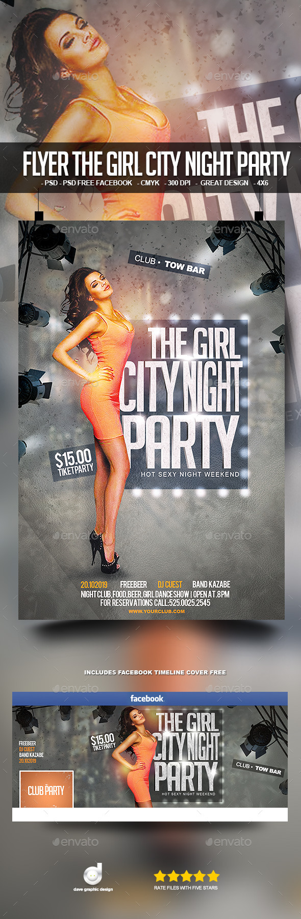 Flyer The Girl City Night Party - Clubs & Parties Events