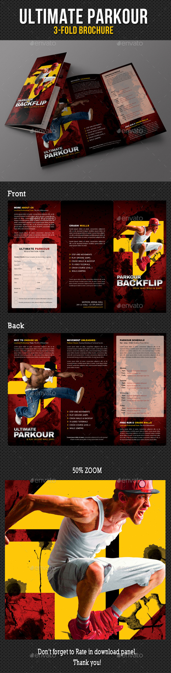 Ultimate Parkour 3-Fold Brochure V2 - Brochures Print Templates