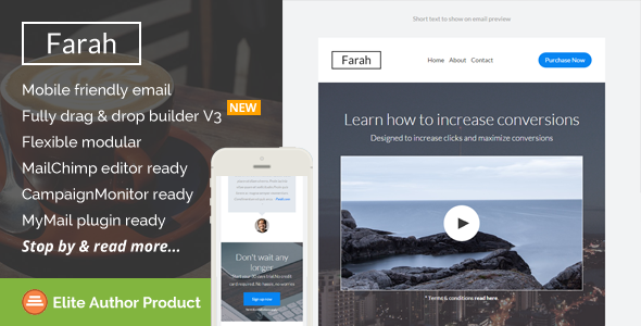 Farah, Rsponsive Email Template + Builder Access