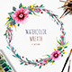 Watercolor Wreath with Flowers, Foliage and Branch