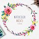 Watercolor Wreath with Flowers, Foliage and Branch - GraphicRiver Item for Sale