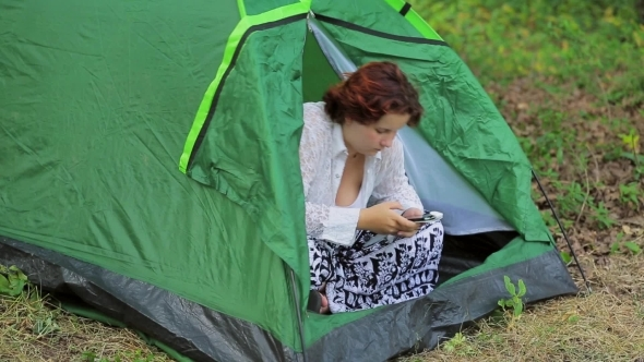 The Girl In The Tent With The Phone