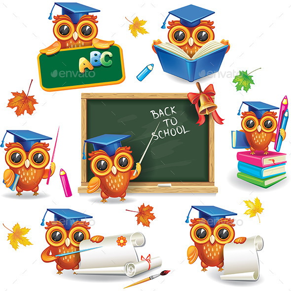 Set of Wise Owls in Graduation Caps - Animals Characters