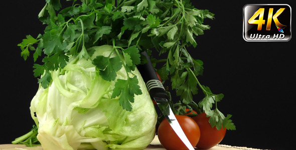 Cabbage Parsley Tomato and Knife 2