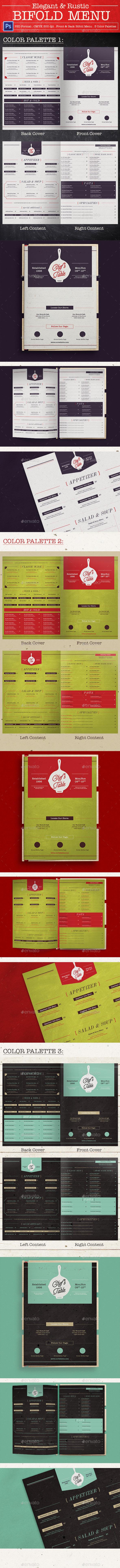 Elegant Rustic Bifold Menu - Food Menus Print Templates