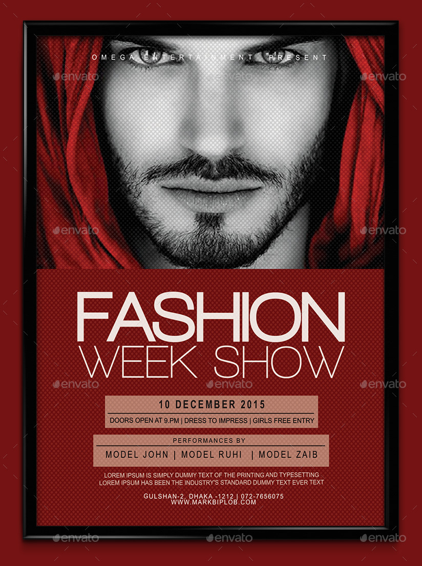Fashion Week Show Flyer Template By MarkDesignStudio GraphicRiver - Fashion show flyer template