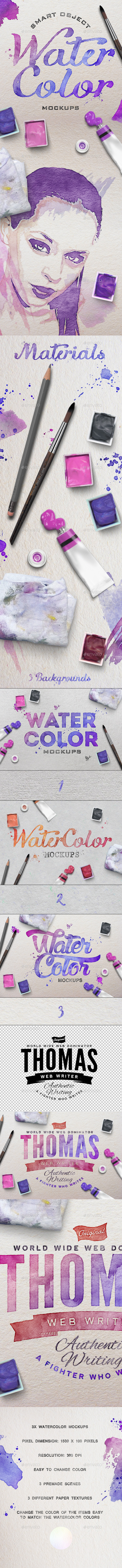 Watercolor Scene Mockups - Hero Images Graphics