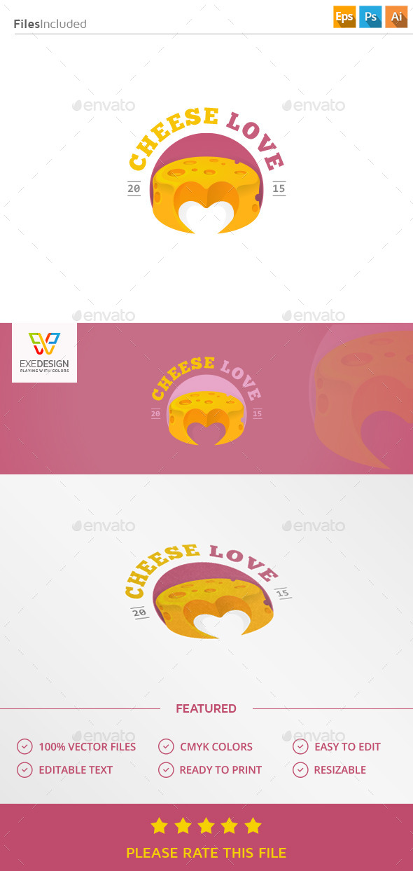 Cheese Love Logo - Food Logo Templates